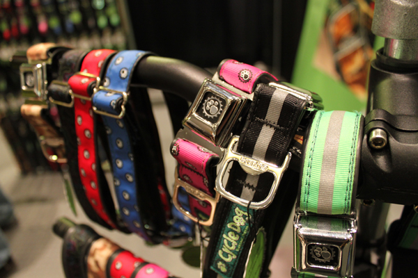 Bicycle tube dog collars. Note the bottle opener.