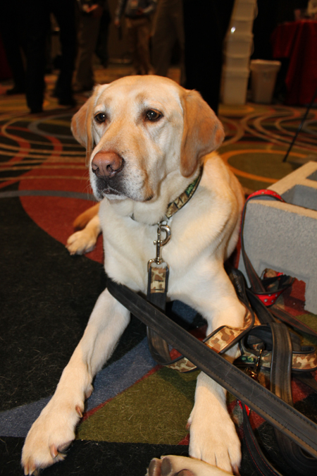 Regan models her Cycle Dog collar at Outdoor Retailer.