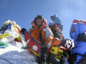 Apa Sherpa atop Mount Everest. Photo: Apa Sherpa