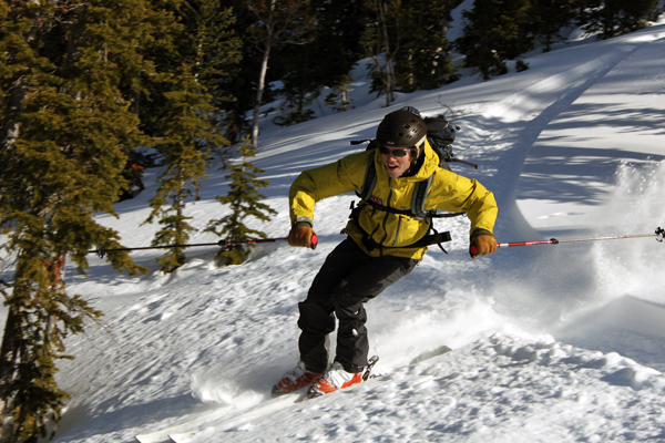 Backcountry skiing at the Bench Hut in Idaho's Sawtooth Mountains
