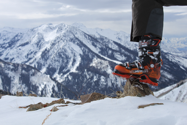 Salomon Quest 12 ski boots, atop a peak in the Wasatch backcountry.