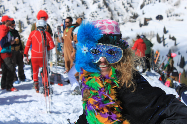 Marti Gras outfits get some more mileage at Alta's final day on High Boy.