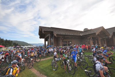 Mountain bikers gather at the base of Snowbasin for the Mt. Ogden 100k Endurance Race. Photo: Ogden Valley Magazine