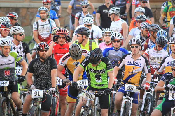 Mountain bike racers line up at the starting line of the 2010 Mount Ogden 100k/50k