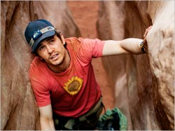 "James Franco portrays Aaron Ralston in the film ""127 Hours."""
