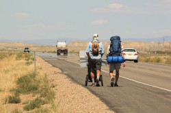 Jonathon Stalls and his cousin, Matt making their way to Price, Utah.