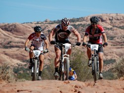 Mountain bikers competing in the 24 Hours of Moab race. Photo courtesy UltraRob.com