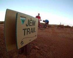 Signs at the start of the JEM Trail shows mountain bikers the way.