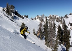 Dropping into Days Fork from the top of Flagstaff Mountain. Skier: Mike DeBernardo