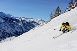 Mike Debernardo skis high above Little Cottonwood Canyon after dropping in from Flagstaff Peak.
