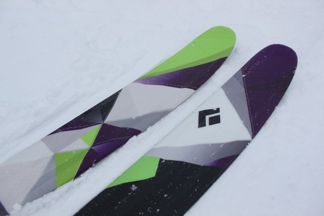 Rockered tips of the Black Diamond Amp skis.