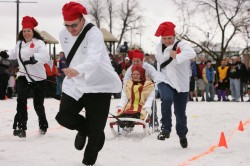 Human Dog Sled = tomfoolery at Ogden WinterFest