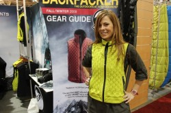 Amy May models the new women's Klymit Caldera Vest