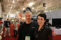 The author with Lee Saxby at the Terra Plana booth at Outdoor Retailer.
