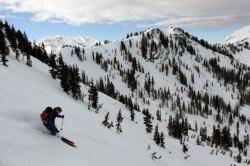 Mason Diedrich skis the west face of upper Silver Fork Canyon.