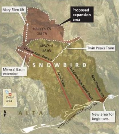 Map detailing Snowbird's expansion proposal in Mary Ellen Gulch and a second tram.