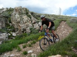 "Dave Thieme mountain bikes on one of the ""old"" lift-serviced trails at Deer Valley"