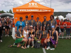Team Chafing More Tail at the Ragnar Wasatch Back finish line.