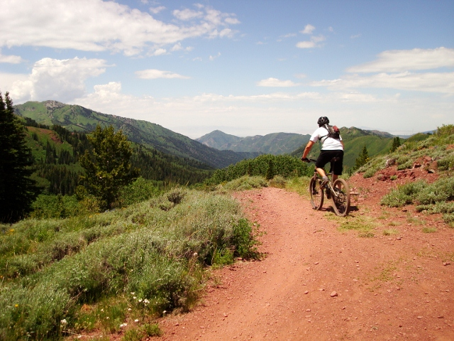 """After """"The Fin,"""" the trail becomes Great Western Trail and descends into Millcreek Canyon."""