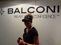 Company founder, Renee Balconi, rocks her gear at the 2011 Outdoor Retailer Summer Market.