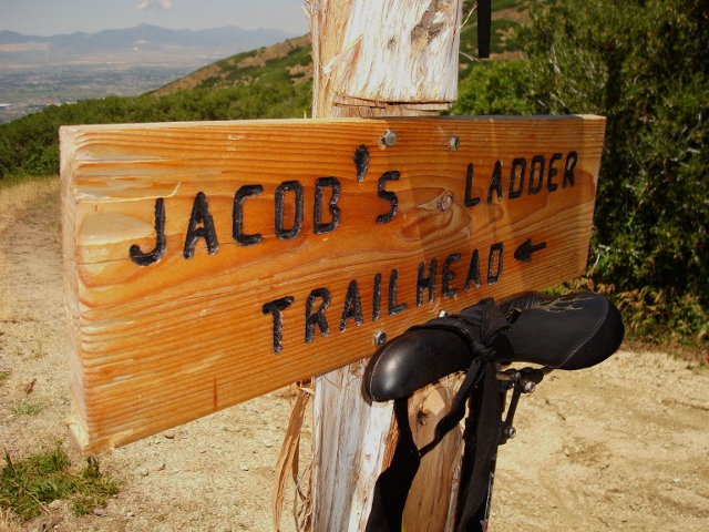 Signage leads the way for a wild ride down Jacob's Ladder.
