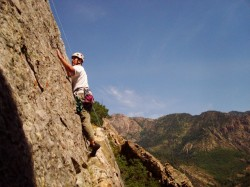 Matt Walker climbing on Glass Ocean in Big Cottonwood Canyon.