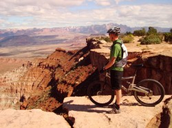 The author scans the view from The Point on the Gooseberry Mesa Trail.