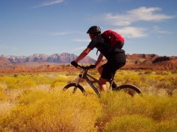Matt Walker cruises down the JEM Trail as he rides the Hurricane Rim Loop.