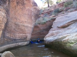 One last swim is required to exit Keyhole Canyon. (Photo: Kelley Bethea)