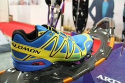 A look at a Salomon running shoe attached to the Easton Vo2. (Photo: Jared Hargrave - UtahOutside.com)