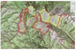 A map of the Cottonwood Canyons showing what the Wasatch would look like if all ski resort expansion plans were to happen.