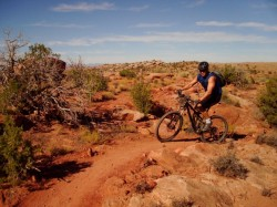 Jacob Case rides Deadman's Ridge Trail just north of Moab.
