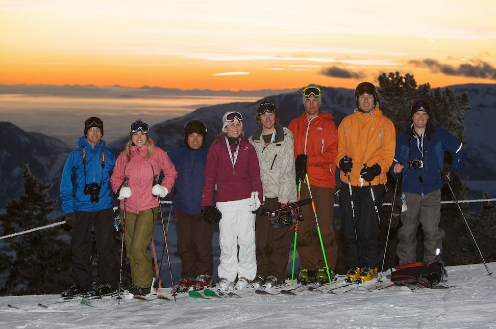 The previous record holders of 13 resorts in one day stop of a photo at Powder Mountain on January . Will their feat go down this year? (Photo: Adam Barker)