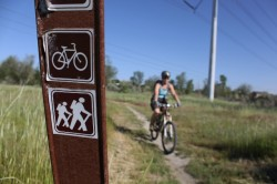 Signage marks the start of the mountain bike ride in Germania Park. (Photo: Jared Hargrave - UtahOutside.com)
