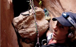 Photo Aron Ralston took of himself while trapped in Utah's Blue John Canyon. Ralston will have a presentation at Peery's Egyptian Theater in Ogden on June 13, 2012. (Photo: Aron Ralston)
