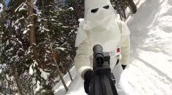 "Still image from the video, ""STAR WARS Skiers vs Snowboarders"" (Image: Freakin' Rad Video)"