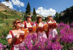 Beer and babes at the annual Snowbird Oktoberfest. (Photo: Snowbird Ski and Summer Resort.)