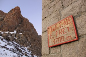 The famous entry sign to Refugio Frey, in Nahuel Huapi National Park, Patagonia. (Photo: Jared Hargrave - UtahOutside.com)
