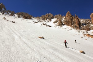 skin across the ramp just before the bootpack up Cerro Norte. (Photo: Jared Hargrave - UtahOutside.com)