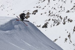 Sean Zimmerman-Wall shows off during one of many epic runs in the Cordillera de los Baguales. (Photo: Jared Hargrave - UtahOutside.com)