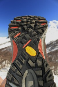 The sole of the Patagonia Scree Shield was grippy and full of traction. But notice how narrow it is at mid-foot... made for an awkward, unstable feeling. (Photo: Jared Hargrave - UtahOutside.com)