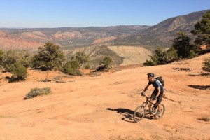 A mountain bikers rolls over smooth slickrock on the UPS/LPS section of The Whole Enchilada. (Photo: Jared Hargrave - UtahOutside.com)