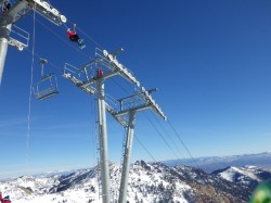 Ski patrol needs diversions when high pressure systems rule, like training on ski lift rescue.