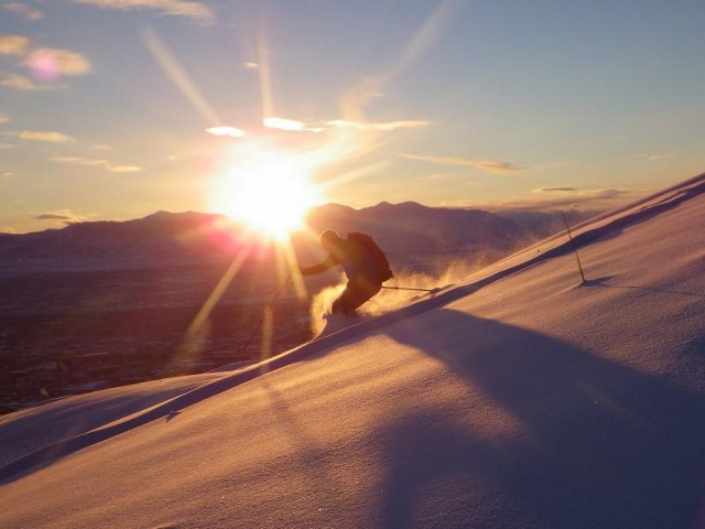 Some skiers made laps until sundown, like Justin Lozier, who drove down from Little Cottonwood Canyon to ski powder in the valley... crazy. (Photo: Sean Zimmerman-Wall)