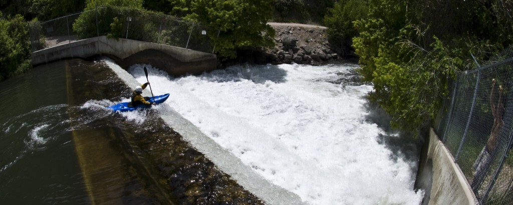 Andy Thunell dropping over Second Dam on the Logan River. Photo – Andy Thunell, Rapid Progression Kayak School