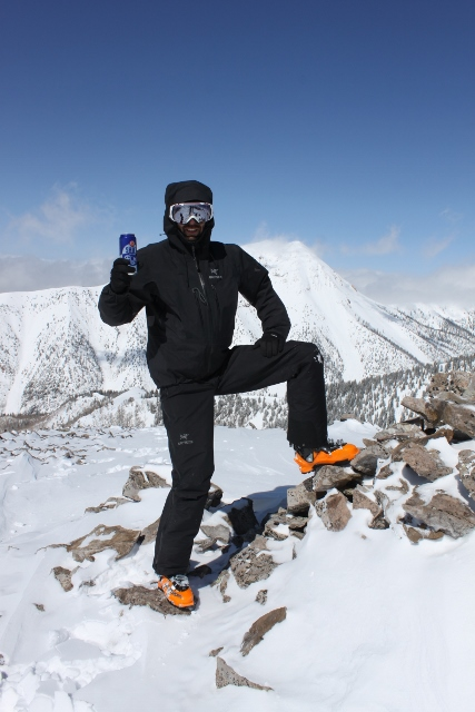 Eric Ghanem celebrates the summit of Shelly Baldy with a can of New Belgium Shift. (Photo: Jared Hargrave - UtahOutside.com)