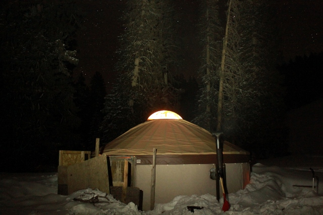 Backcountry skiing at Snorkeling Elk Yurt