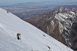 Mike D skis Bonkers during spring corn conditions. (Photo: Jared Hargrave - UtahOutside.com)