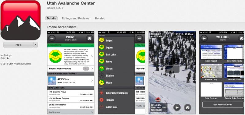 The new Utah Avalanche Center app for iPhone and iPad. (Image: UAC)