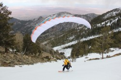 Jon Strickland begins to launch his speed wing in the Henry Mountains. (Photo: Jared Hargrave - UtahOutside.com)